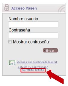 Pulse sobre el enlace marcado para acceder al proceso de recuperación de clave.