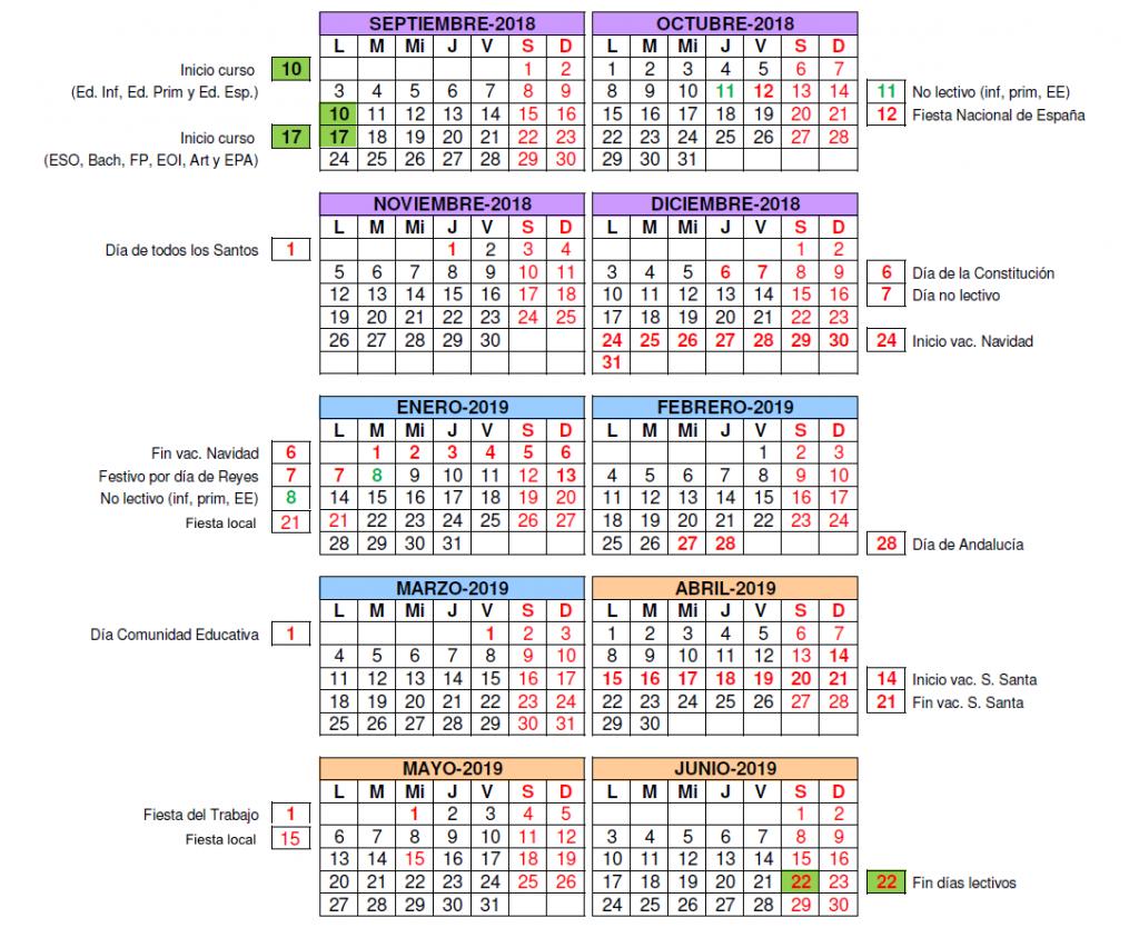 calendario escolar 2018-2019 Campohermoso
